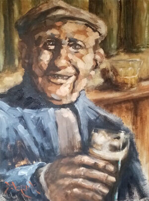"""A small Padraic"" oil on board, by Robert Devereux 12"" x 18"""