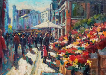 """Flower sellers on Grafton Street"""