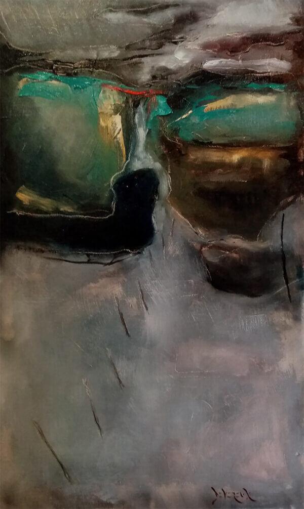 """Storm over boglands"" by Robert Devereux 12"" x 20"". Oil on canvas"