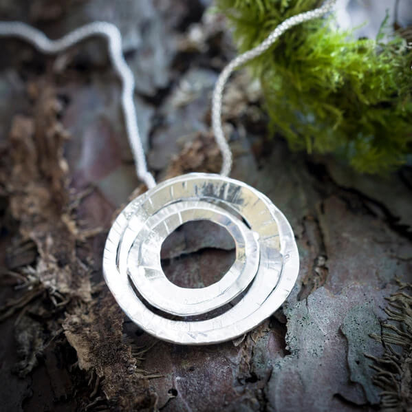 """""""The Moon"""" sterling silver pendant by Banshee Silver"""