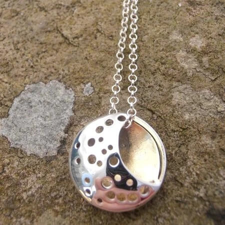 The Moon sterling silver pendant by Banshee Silver